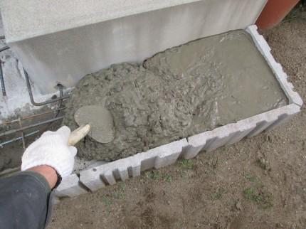 洗い出し 下地コンクリート打設